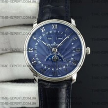 Blancpain Villeret Quantième Complet 40mm Blue Dial on Blue Leather Strap