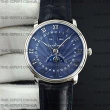 Blancpain Villeret Quantième Complet 40mm Blue Dial on Blue Leather Strap