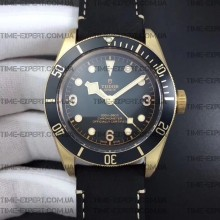 Tudor 43mm Heritage Black Bronze Leather Strap