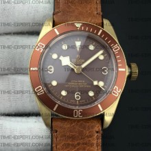 Tudor 43mm Heritage Black Bay Bronze Brown Leather Strap