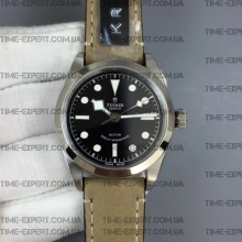 Tudor 36mm Black Bay Black Dial on Gray Leather Strap