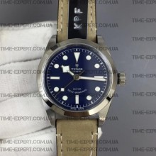 Tudor 36mm Black Bay Blue Dial on Gray Leather Strap