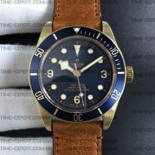Tudor 43mm Heritage Black Bronze Blue Brown Leather Strap