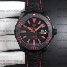 Tag Heuer 43mm Aquaracer Calibre 5 PVD Black/Red Dial on Nylon Strap
