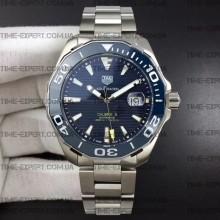 Tag Heuer 43mm Aquaracer Calibre 5 Blue Ceramic Bezel Blue Dial on Bracelet
