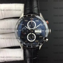 Tag Heuer 43mm Carrera Calibre 16 Day-Date Black Dial on Leather strap