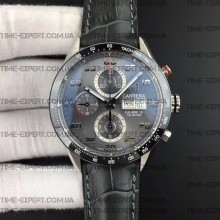Tag Heuer 43mm Carrera Calibre 16 Day-Date Gray Dial on Leather strap