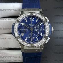 Hublot 44.5mm Big Ban Chronograph Blue Dial Swarovski Diamonds