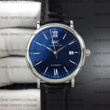 Iwc 39mm Portofino Automatic Blue Dial on Black Leather Strap