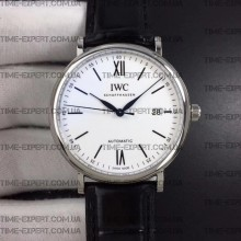 Iwc 39mm Portofino Automatic White Dial on Black Leather Strap