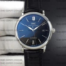 Iwc 39mm Portofino Automatic Black Dial on Black Leather Strap