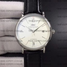 Iwc 39mm Portofino Automatic White Dial Markers on Black Leather Strap