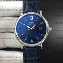 Iwc 39mm Portofino Automatic Blue Dial on Blue Leather Strap