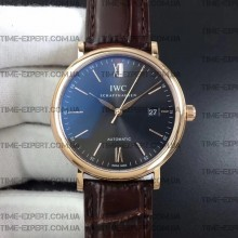 Iwc 39mm Portofino Automatic Gray Dial on Brown Leather Strap