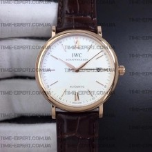 Iwc 39mm Portofino Automatic White Dial on Brown Leather Strap
