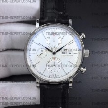 Iwc 42mm Portofino Chronograph White Dial Markers on Black Leather Strap