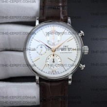 Iwc  42mm Portofino Chronograph White Dial Markers on Brown Leather Strap
