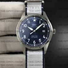 Iwc 40mm Pilot`s Mark XVIII Blue Dial on White Nylon Strap Ref.IW327010