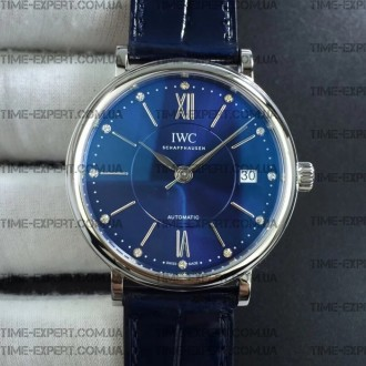 Iwc 37mm Portofino Automatic Blue Dial On blue leather strap