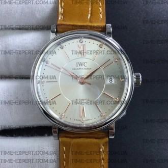 Iwc 37mm Portofino Automatic Silver Dial on Brown Leather Strap