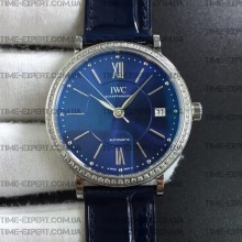Iwc 37mm Portofino Automatic Blue Dial Diamonds Bezel on Blue Leather Strap