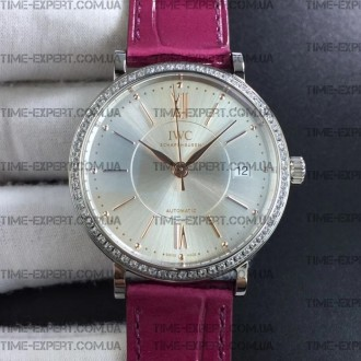 Iwc 37mm Portofino Automatic ilver Dial Diamonds Bezel on Pueple Leather Strap